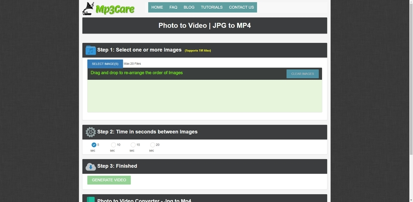 create slideshow video of images in Mp3Care