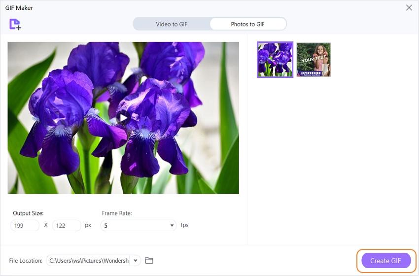 adjust GIF in UniConverter