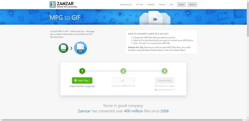 turn MPG file to GIF in Zamzar