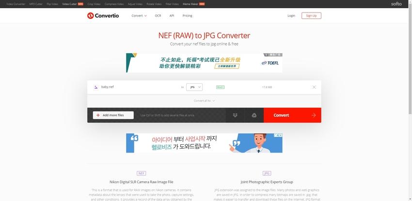NEF to JPEG Converter-Convertio