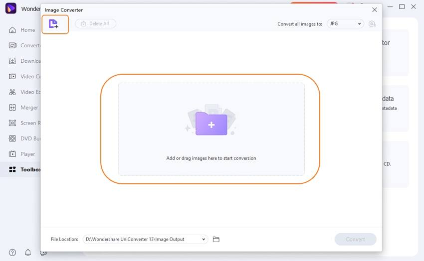 Upload PNG to Image Converter Feature-UniConverter
