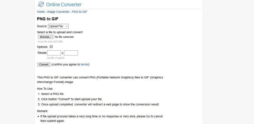 PNG format to GIF-Online Converter