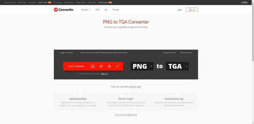 change PNG to TGA in Convertio