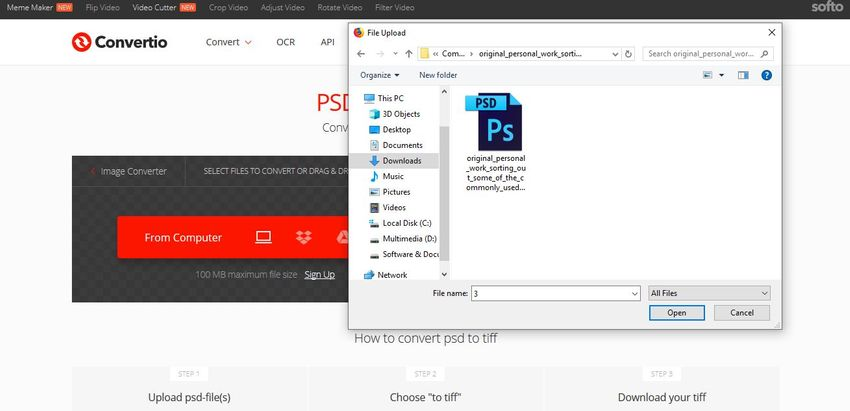 upload PSD to Convertio