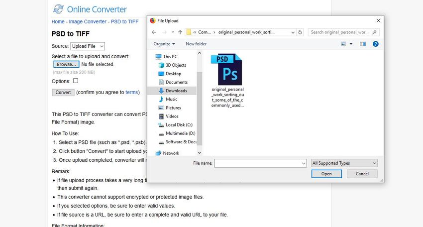 browse the PSD to Online Converter