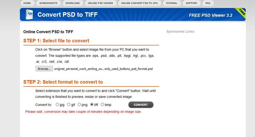 select output format as TIFF-PSDViewer