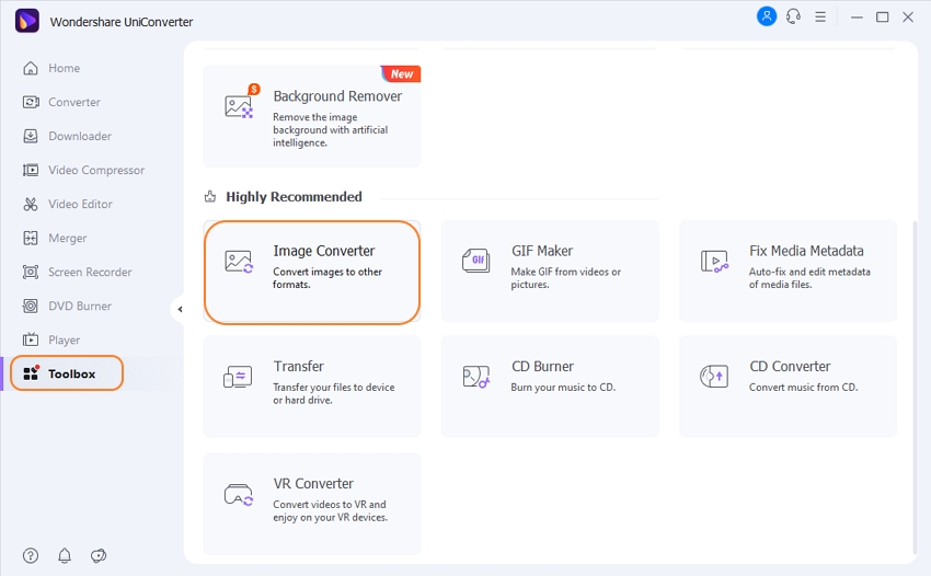 Open UniConverter and select Image Converter option