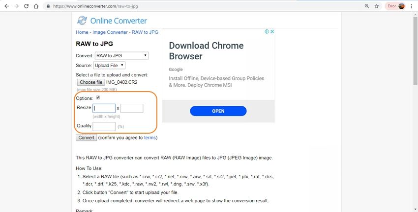 change the output size and quality-Online Converter