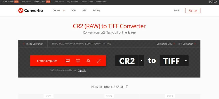 RAW format to TIFF format convert-Convertio