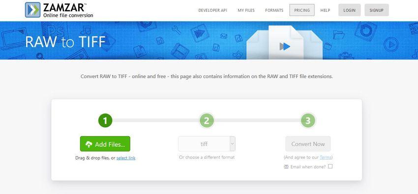 Convert RAW to TIFF online-Zamzar