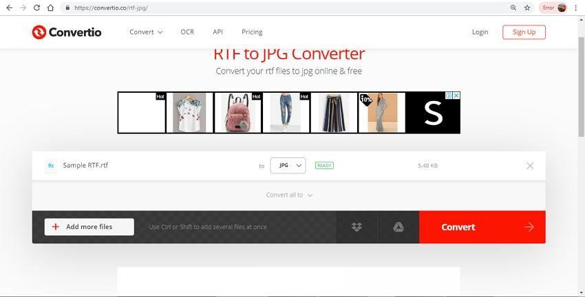 convert RTF to JPG format-Convertio