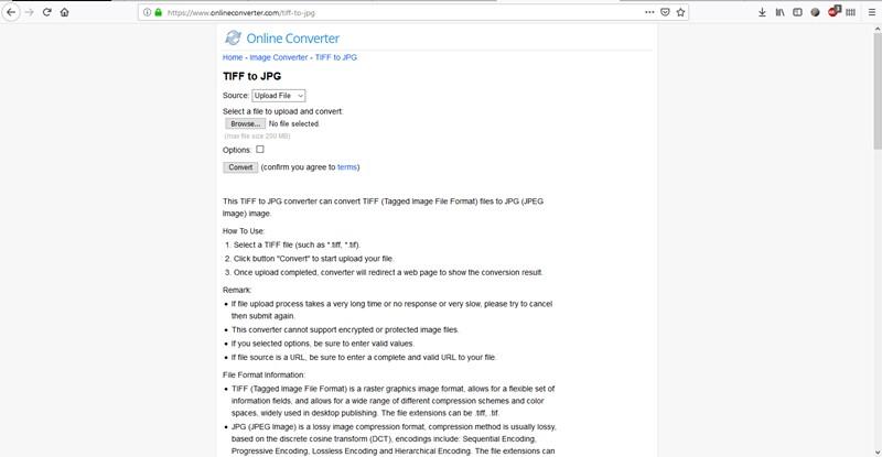 Change TIFF to JPG-Online Converter
