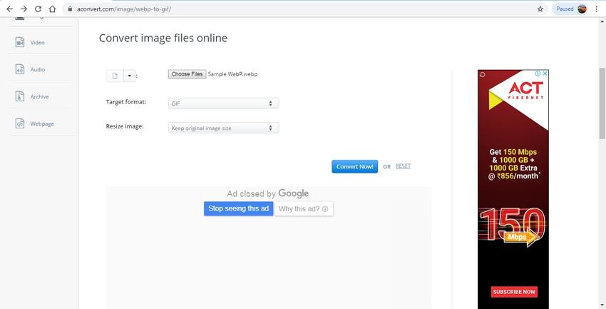 WebP to GIF Conversion-AConvert