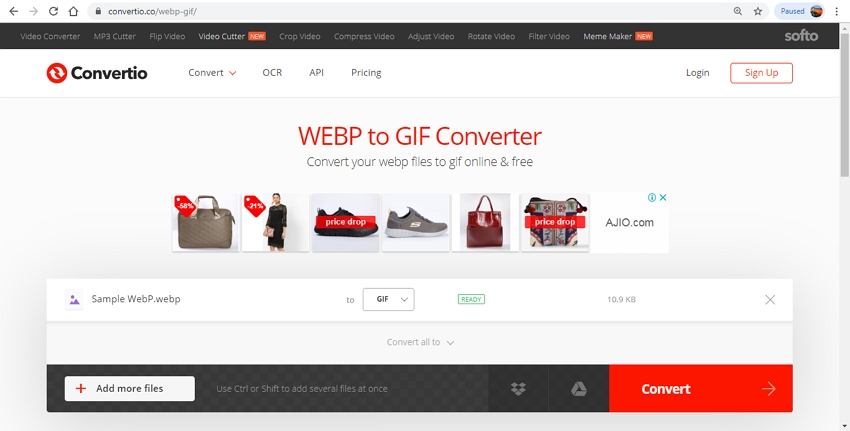 turn WebP to GIF-Convertio