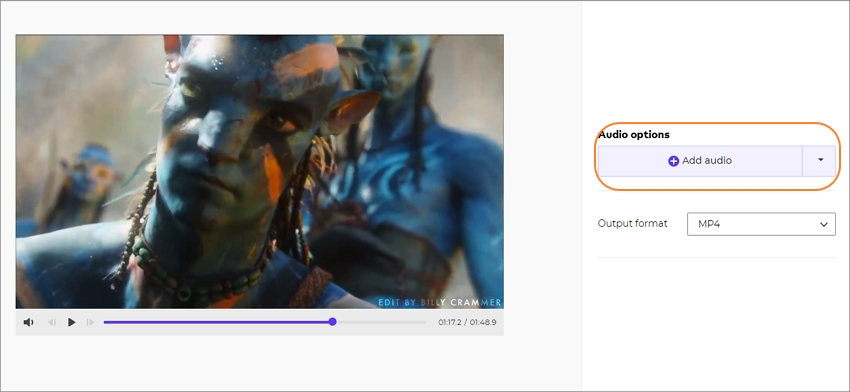 add audio to video online step 4