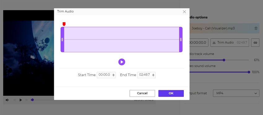 add audio to video photo step 3