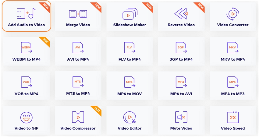 add audio to video tool step 1