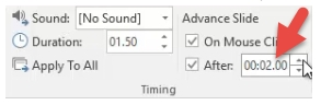 add duration On Mouse Click