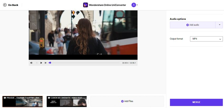 click merge to combine videos