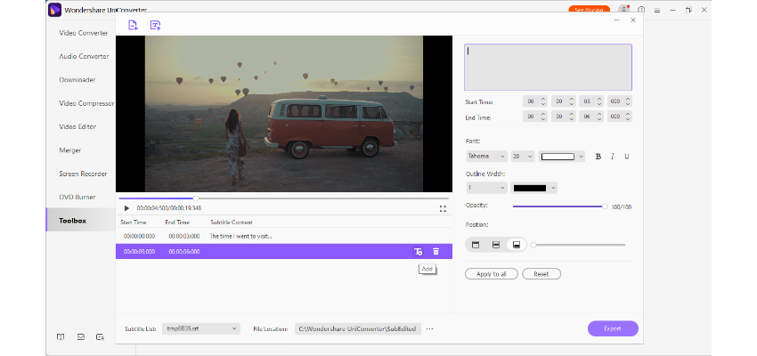 Adjust the settings and export video