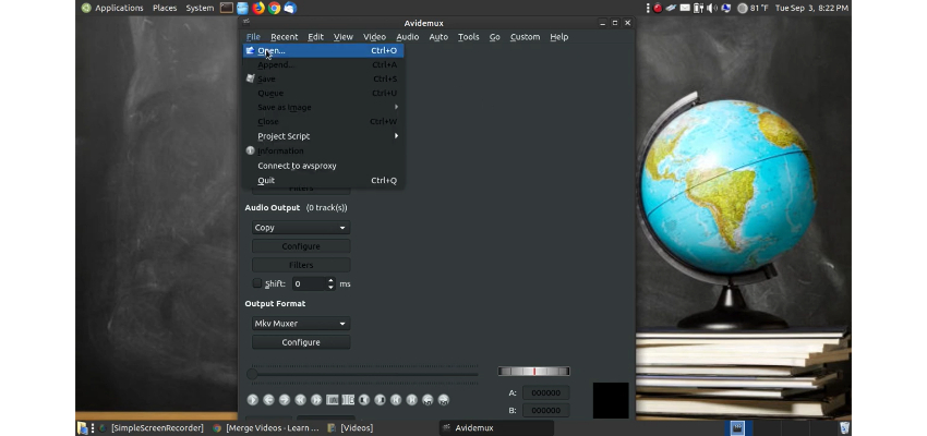 Download and launch Avidemux merge videos