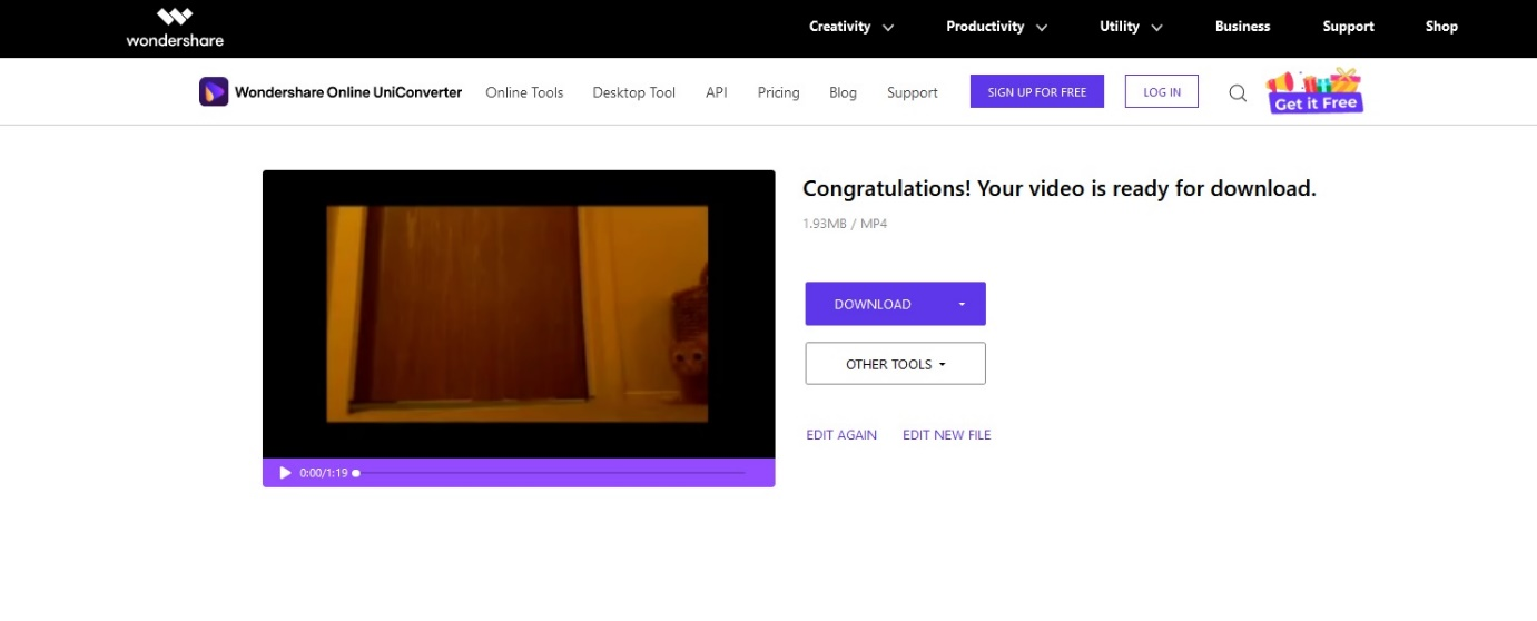 Download the merged video online