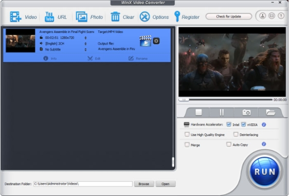 WinX Free Video Converter-video combiner for PC