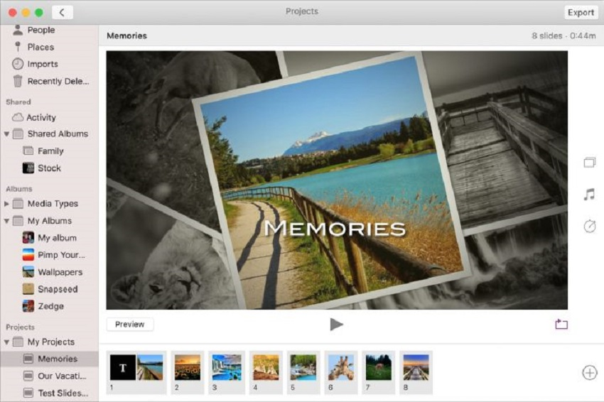 preview and export on photos