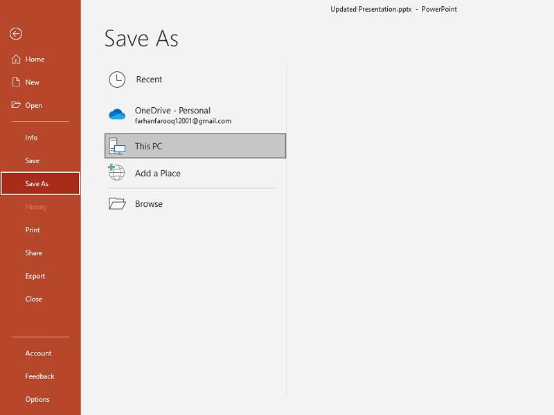 Save your slideshow