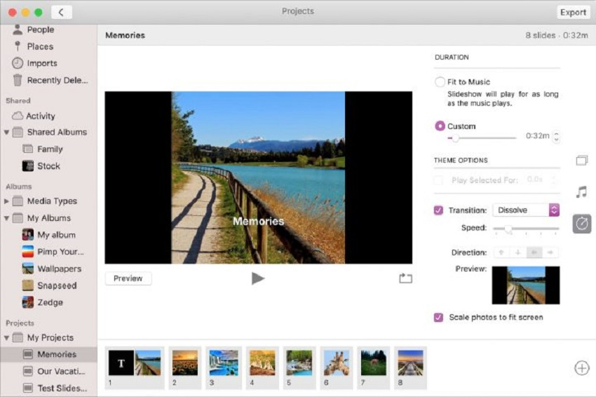 select duration on photos