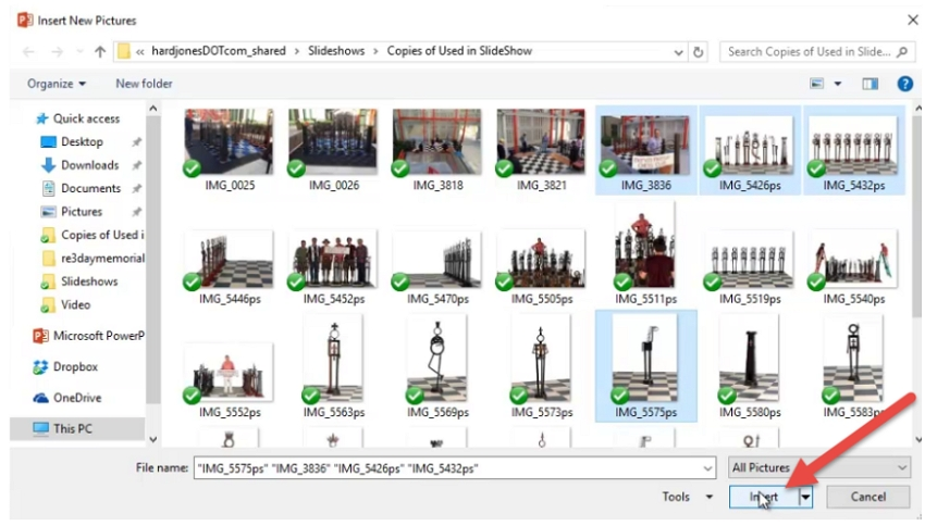 Select the desired pictures