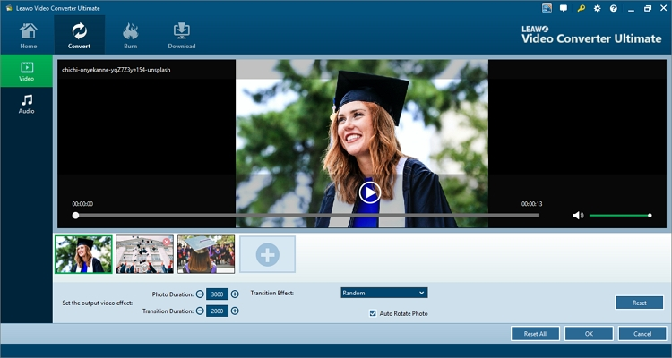 Add photos with Leawo Video Converter