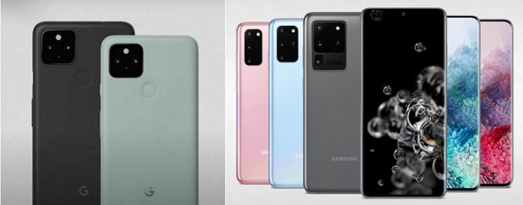 google-pixel-5-samsung-s20-color-design