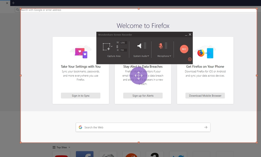 Click Rec Button to Start Record Firefox Screen