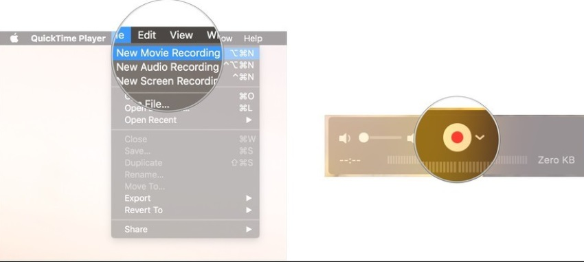 Click New Movie Recording and Record Button in Mac