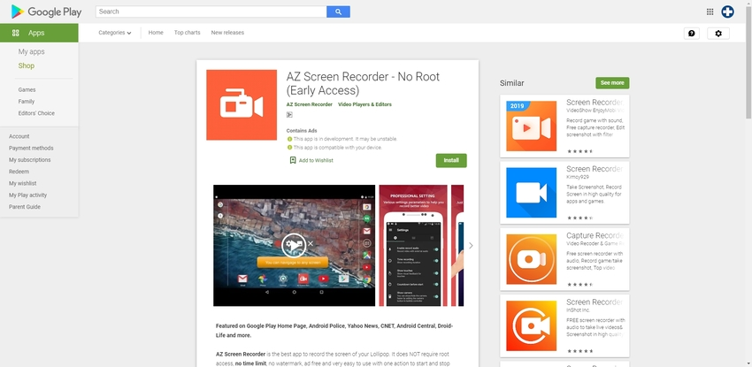 Record Google Hangouts Call in AZ Screen Recorder