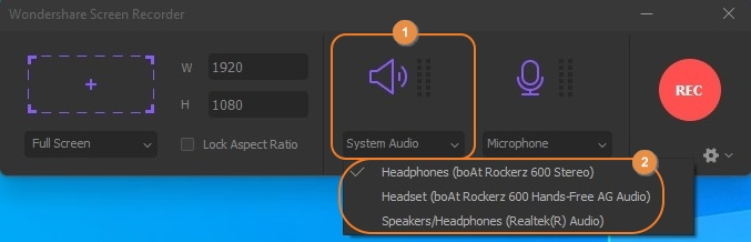 Adjust System Audio Setting in UniConverter