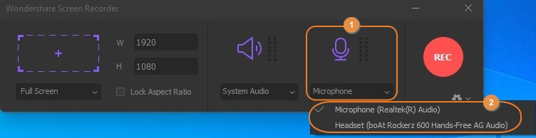 Click the Microphone Setting in UniConverter