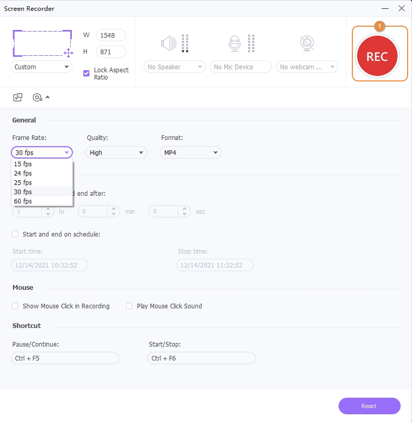 Click REC Button to Start Record Live Stream