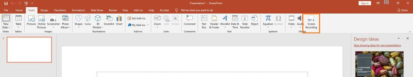 Select Built-in Screen Recording Feature in Powerpoint