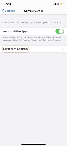 Find the Customize Controls in Settings