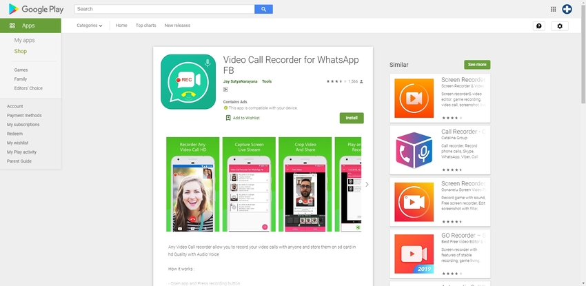 Record Whatsapp-Video Call Recorder for WhatsApp FB