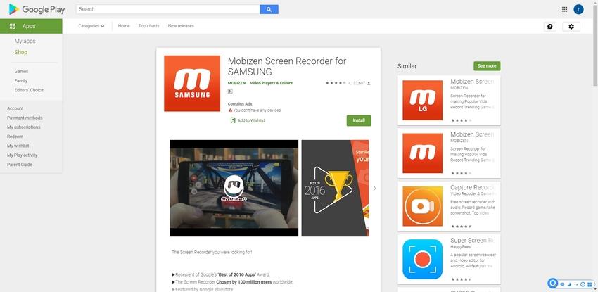 Screen Record on Samsung s9-Mobizen Screen Recorder for Samsung