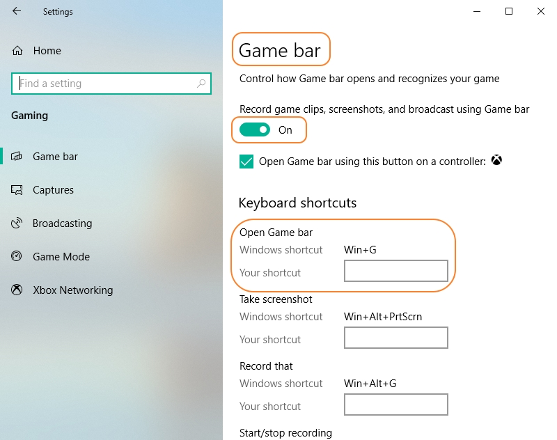 Turn on Screen Capture Feature in Game Bar