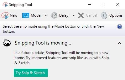 Run Snipping Tool in Windows
