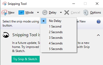 Set the Delay in Snipping Tool