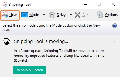 Click New Tab in Snipping Tool