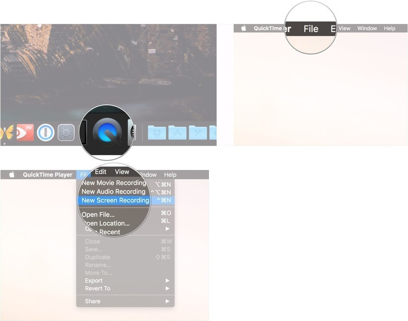 Open QuickTime Player and Choose Screen Record Feature