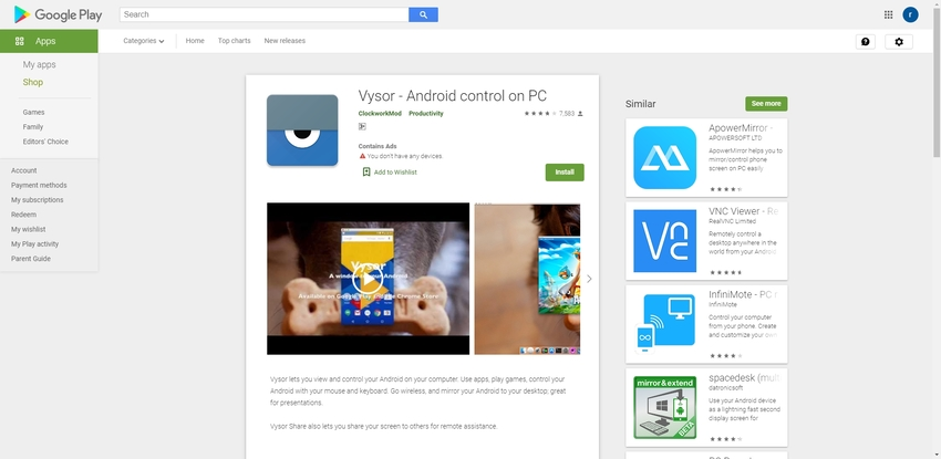Best Android Screen Recorder-Vysor