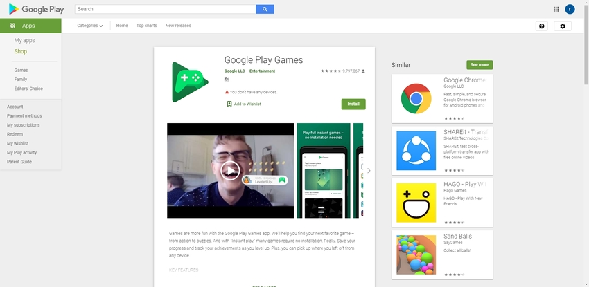 Screen Video Android-Google Play Games